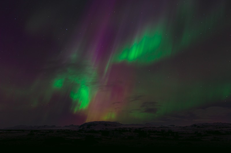 northern lights in iceland - different colors