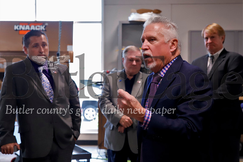 Steamfitters Local Union 449 business manager Kenny Broadbent gives a tour of the Harmony facility to Butler County commissioner Kevin Boozel (left), Allegheny County executive Rich Fitzgerald (right) and other officials Friday. Seb Foltz/Butler Eagle 10/18/19