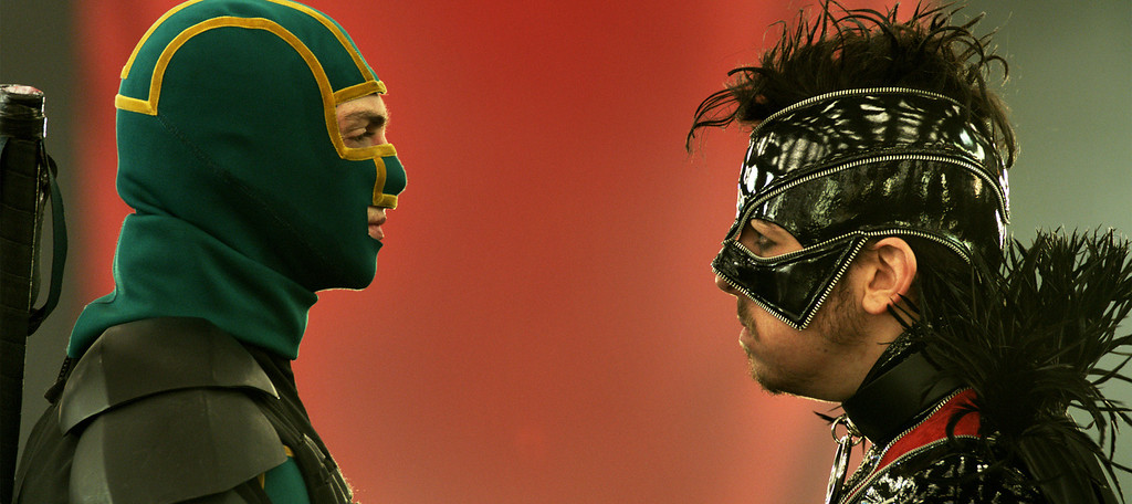 """. Kick-Ass (Aaron Taylor-Johnson) and Red Mist (Christopher Mintz-Plasse) face off in \""""Kick-Ass 2.\"""" Provided by Universal."""