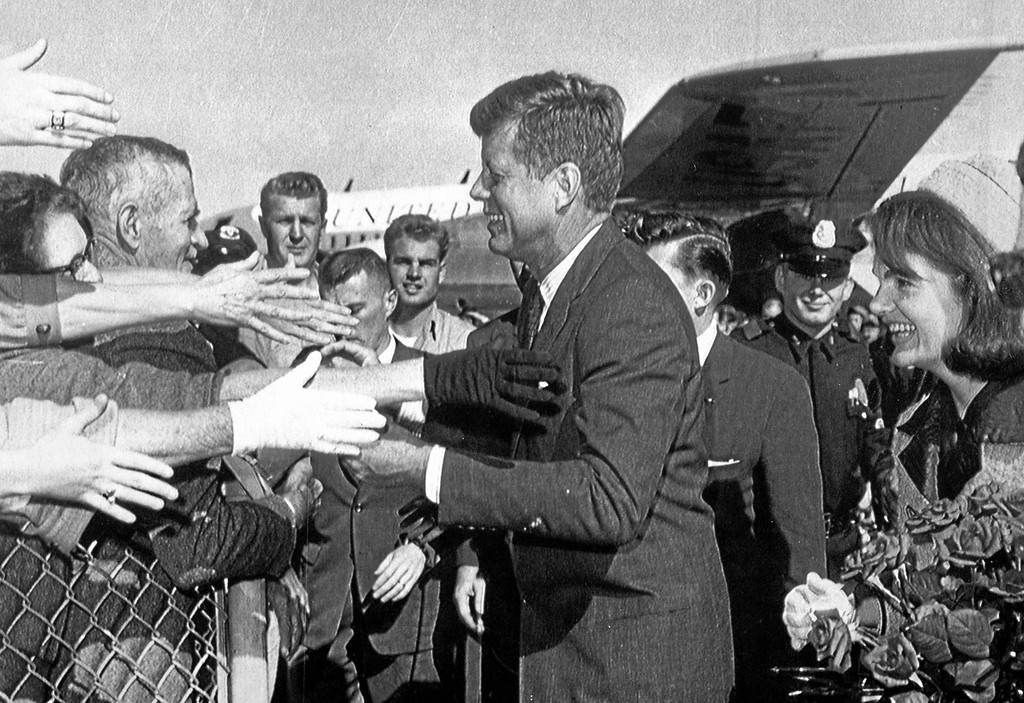 . 50th Anniversary of John F. Kennedy assassination-  The President and First Lady greet crowds at the Dallas Airport on November 22, 1963, shortly before his assassination. Associated Press.