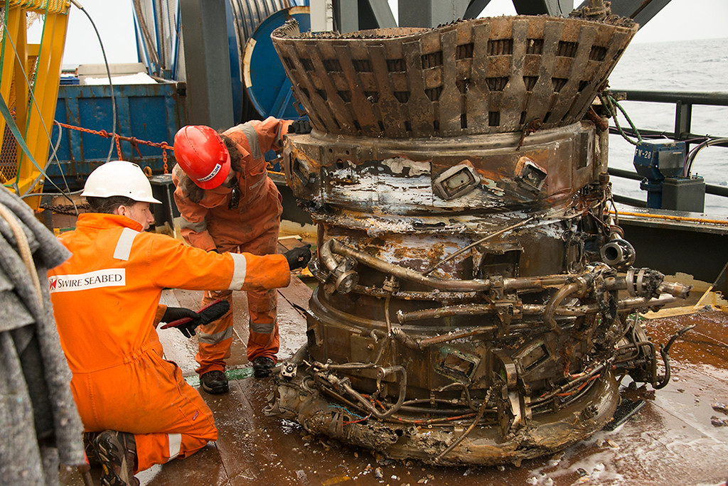 . A thrust chamber from an Apollo F-1 engine is seen in this handout photo from Bezos Expeditions taken onboard a recovery ship off the coast of Florida March 19, 2013.  REUTERS/Bezos Expeditions/Handout