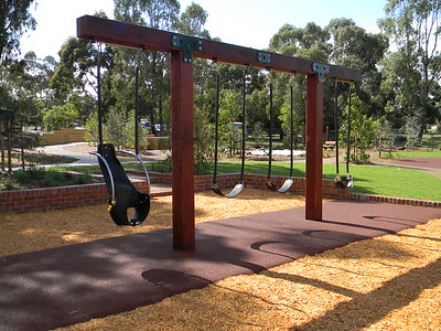 quad timber swing with baby seat and accessibility harness