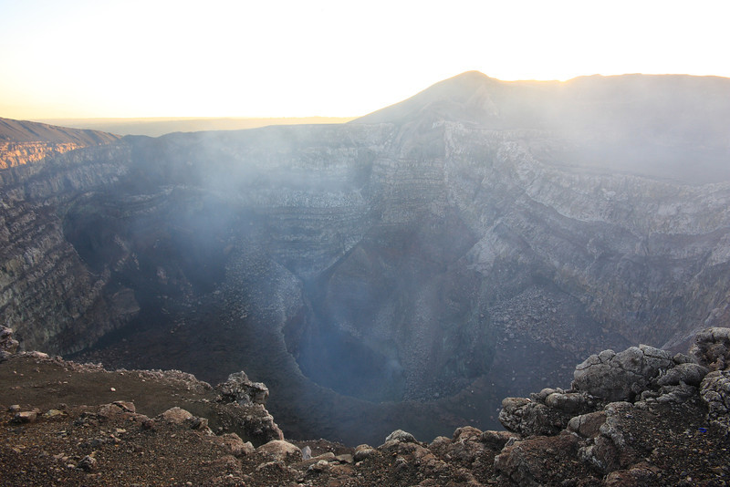 Volcano Masaya - Peering over the edge into an active volcano complete with sulfurous gas