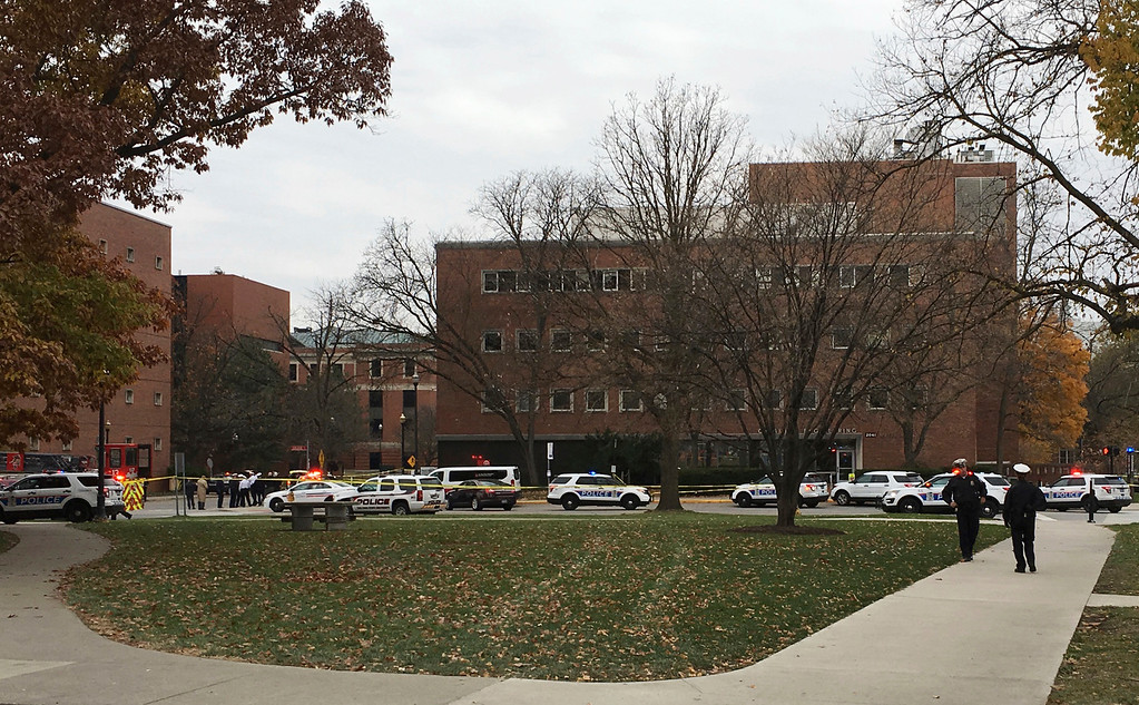 . Police respond to reports of an active shooter on campus at Ohio State University on Monday, Nov. 28, 2016, in Columbus, Ohio. (AP Photo/Andrew Welsh-Huggins)
