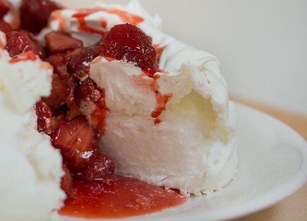 Sliced strawberry pavlova