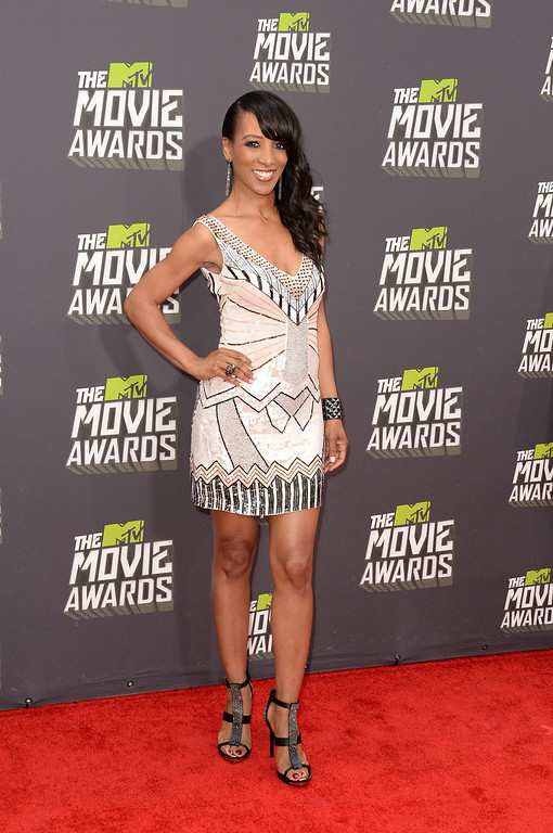 . TV personality Shaun Robinson arrives at the 2013 MTV Movie Awards at Sony Pictures Studios on April 14, 2013 in Culver City, California.  (Photo by Jason Merritt/Getty Images)
