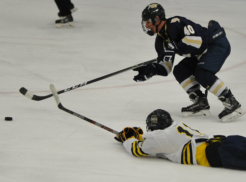 Julian Graziani (40) of Stoney Creek beats Blake Conley (11) of Rochester United to the puck to score his first of two goals during the game played on Wednesday Nov. 22, 2017 at the Onyx Ice Arena in Rochester Hills.  The Cougars defeated RU 4-1. (Oakland Press Photo by Ken Swart)
