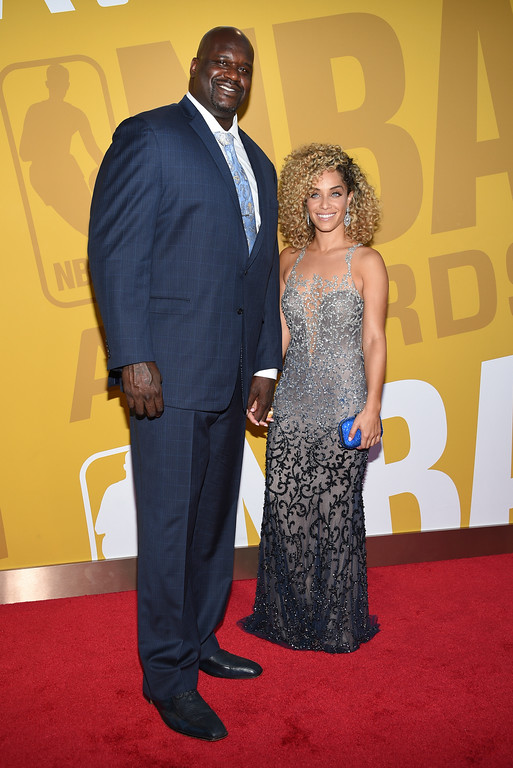 . Shaquille O\'Neal, left, and Laticia Rolle arrive at the NBA Awards at Basketball City at Pier 36 on Monday, June 26, 2017, in New York. (Photo by Evan Agostini/Invision/AP)