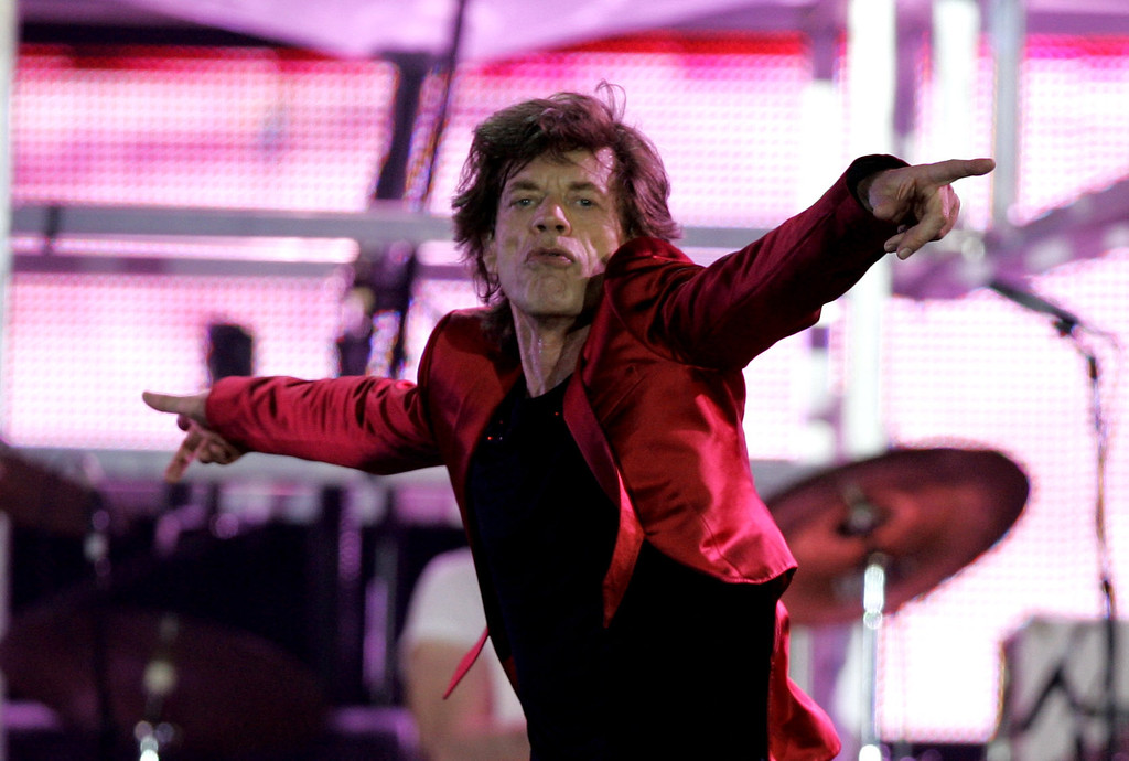 . Mick Jagger of the Rolling Stones performs during the Rolling Stones\' \'A Bigger Bang\' concert in Buenos Aires, Argentina Tuesday Feb. 21, 2006. (AP Photo/Natacha Pisarenko)
