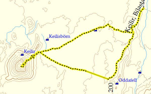 Ferillinn úr GPS tækinu og kortið úr Mapsource