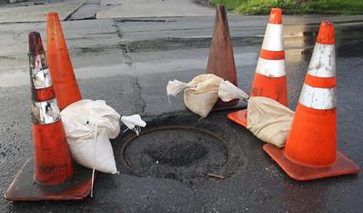 Storm Damage, Manhole Exposed, SR209, Coaldale (5-26-2012)