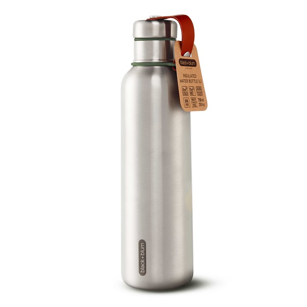Insulated Water Bottle Large olive packaging Black Blum