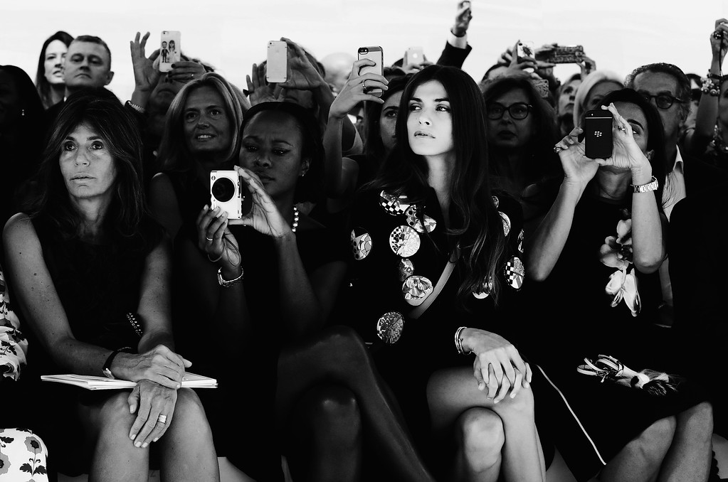 . EDITORS NOTE: Image has been converted to black and white.) Elisa Sednaoui attends the Fendi show as part of Milan Fashion Week Womenswear Spring/Summer 2015 on September 18, 2014 in Milan, Italy.  (Photo by Vittorio Zunino Celotto/Getty Images)