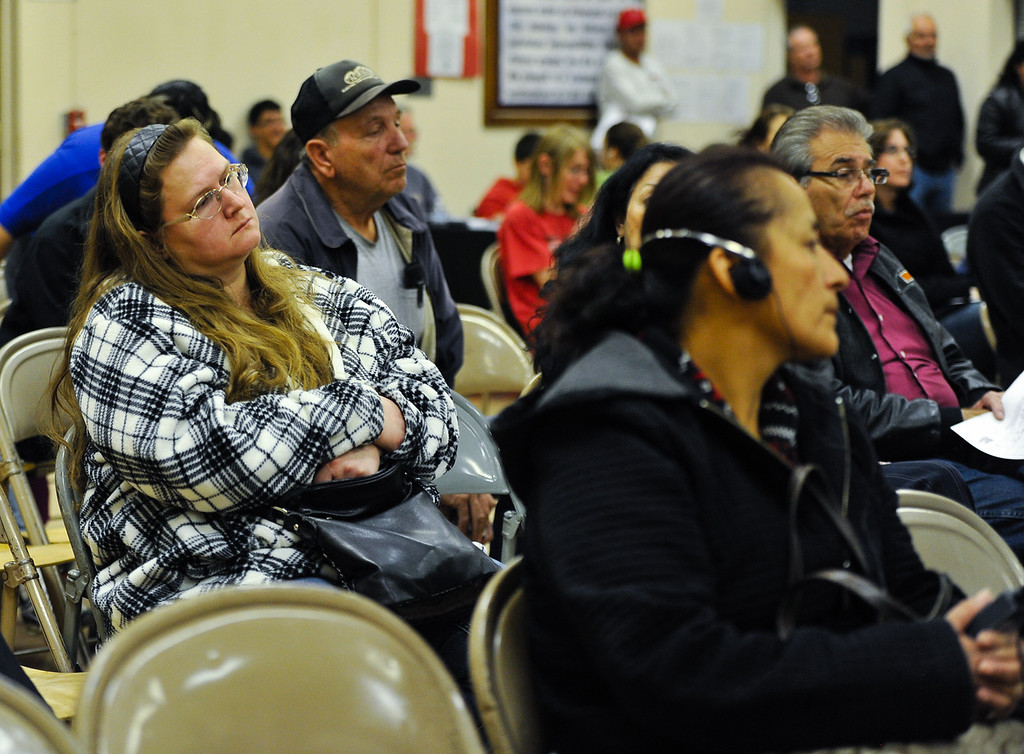 . Residents attend a Community Advisory Committee meeting, which discussed closing the town\'s school at Hinkley Elementary/Middle School in Hinkley, Calif. on Thursday, Feb. 28, 2013. Residents are recruiting signatures for a class action lawsuit against the Barstow Unified School District in a fight to save the town\'s only school. (Rachel Luna / San Bernardino Sun)