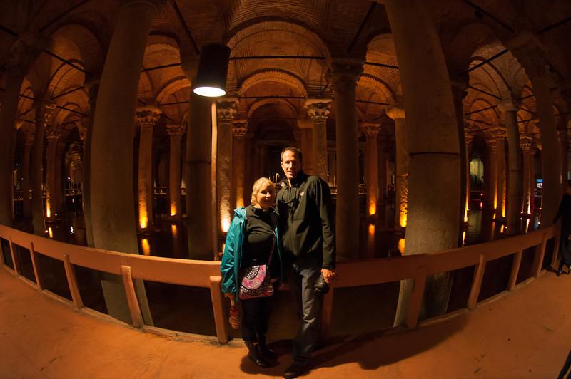 Inside the Basilica Cistern, an underground Roman-era water cistern in historic Istanbul, Turkey.