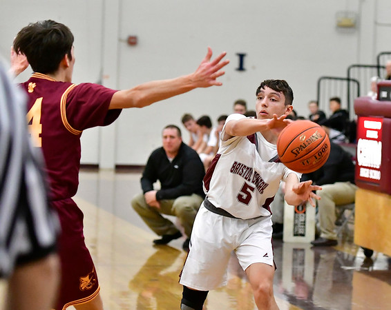 12/29/2018 Mike Orazzi | Staff Bristol Central's Austin Brown (5) during Saturday's boys basketball game with South Windsor in Bristol.