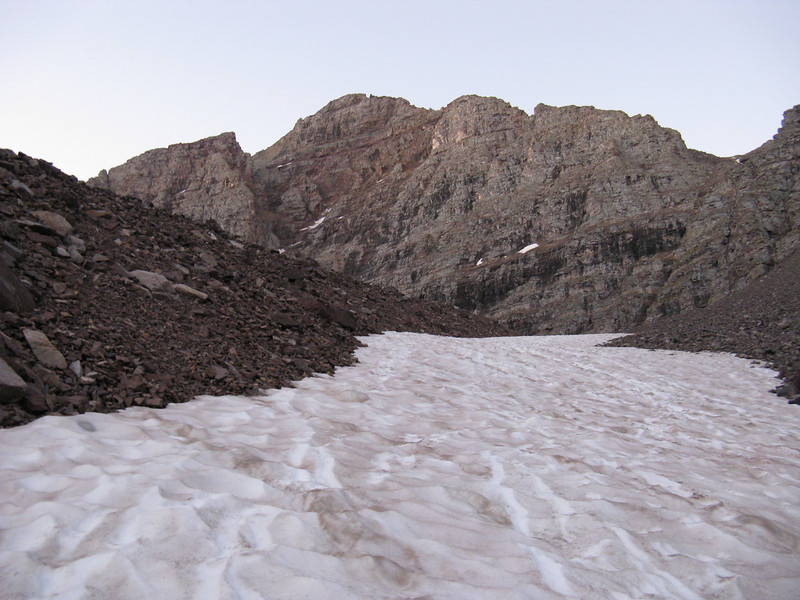 Summit ahead, but first a long snow gully.  Not a problem to walk on it without ice ax or crampons, however.