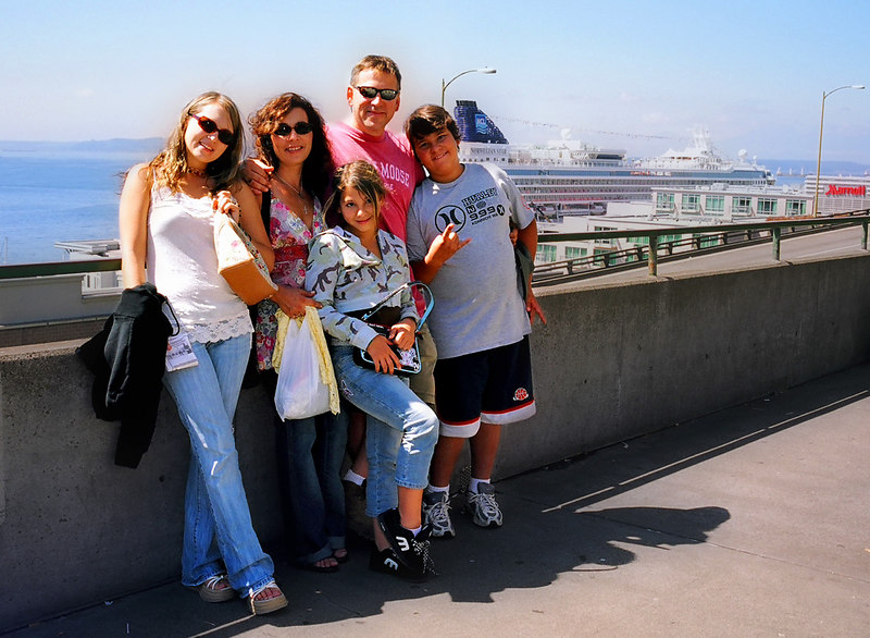 My stepbrother Eric's family: daughter Eric, wife Tracie, daughter Katie, Eric himself, and son Kyle.