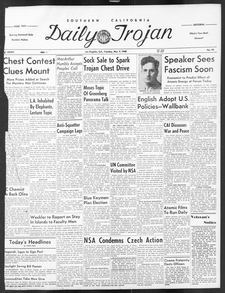 Daily Trojan, Vol. 39, No. 95, March 09, 1948