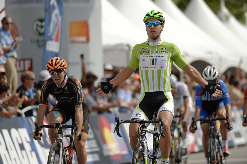 . Peter Sagan of the Cannondale Pro Cycling Team won the 75-mile 7th stage of the 2013 USA Pro Challenge race in Denver, Colorado on August 25, 2013. (Photo by Hyoung Chang/The Denver Post)