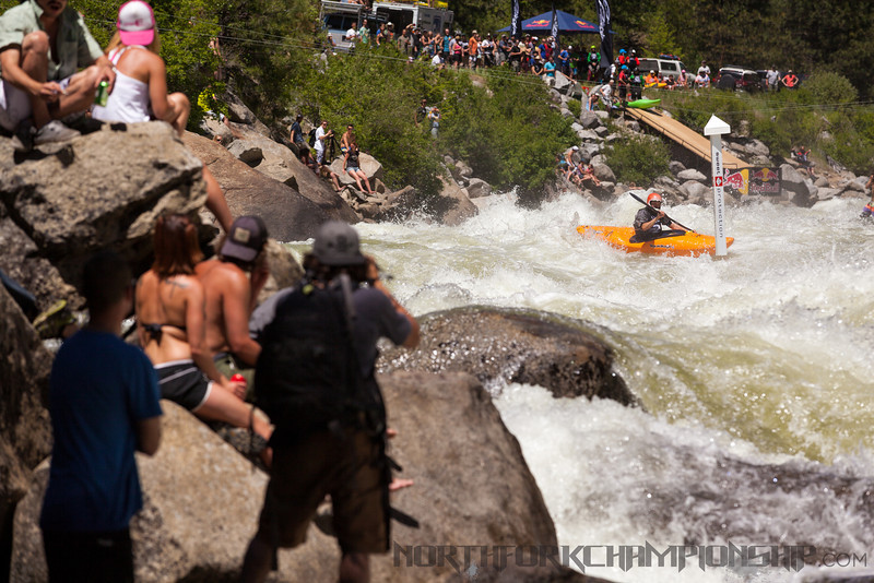 Idaho local Brian Ward racing down Jacob's Ladder approaching Rock Drop and the 1st two gates in the North Fork Championship 2013. photo: Mike Leeds Photography
