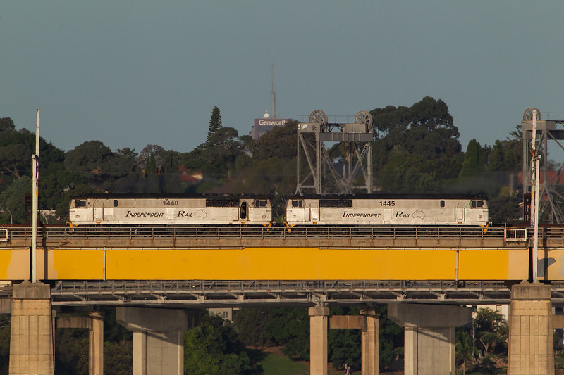 Independent Rail's 14-class diesels head north over the Ryde bridge.