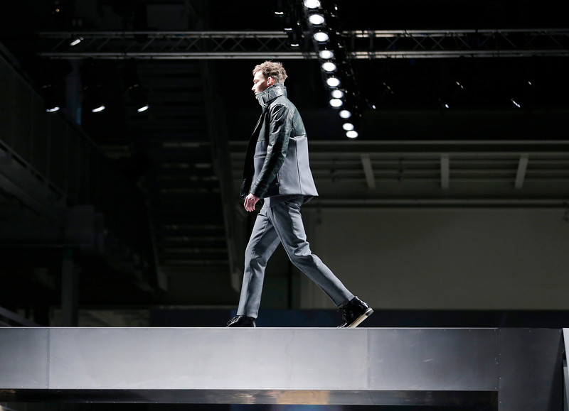 . A model wears a creation for Fendi men\'s Fall-Winter 2013-14 collection, part of the Milan Fashion Week, unveiled in Milan, Italy, Monday, Jan. 14, 2013. (AP Photo/Antonio Calanni)
