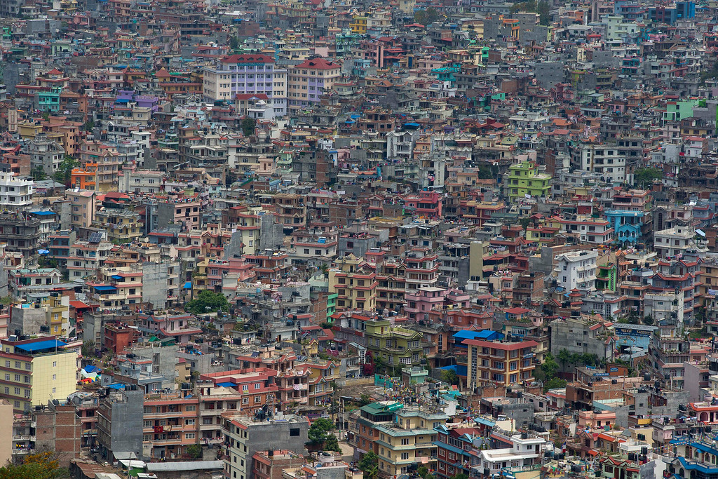 . An arial view Kathmandu city as seen from a helicopter, Nepal, Wednesday, April 29, 2015. While many villages across Nepal affected by Saturdayís earthquake are still waiting for rescue and relief teams, life in the capital, Kathmandu, is slowly returning to normal. (AP Photo/Manish Swarup)