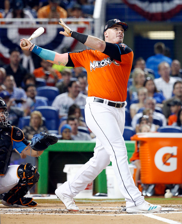. Miami Marlins\' Justin Bour competes during the MLB baseball All-Star Home Run Derby, Monday, July 10, 2017, in Miami. (AP Photo/Wilfredo Lee)