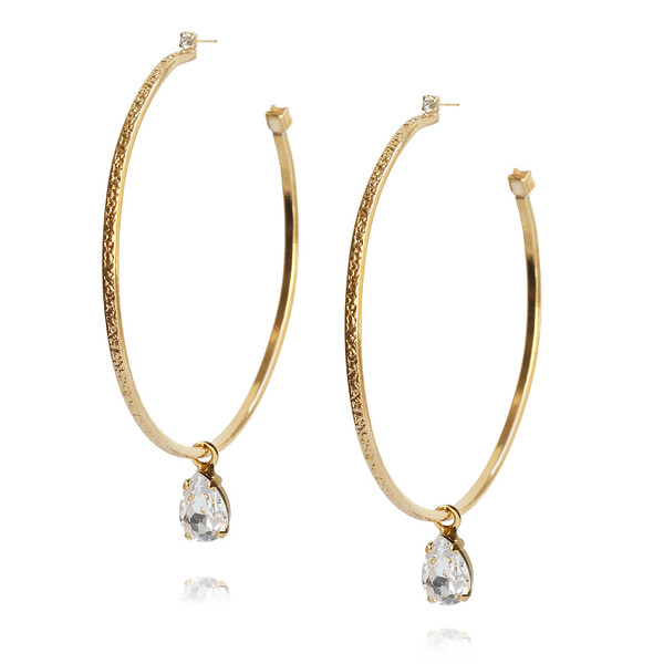 Loop Earrings / Crystal / Gold