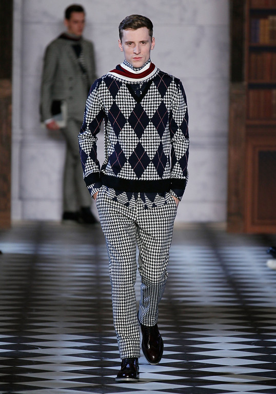 . NEW YORK, NY - FEBRUARY 08:  A model walks the runway at Tommy Hilfiger Men\'s Fall 2013 fashion show during Mercedes-Benz Fashion Week at Park Avenue Armory on February 8, 2013 in New York City.  (Photo by Peter Michael Dills/Getty Images)