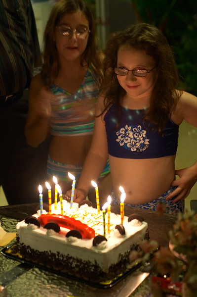 Then home for a pool party and sleepover. We sing Happy Birthday