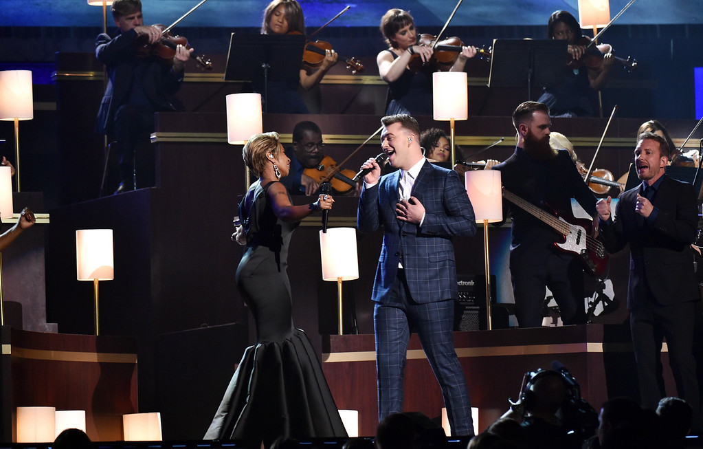 . Mary J. Blige, left, and Sam Smith perform at the 57th annual Grammy Awards on Sunday, Feb. 8, 2015, in Los Angeles. (Photo by John Shearer/Invision/AP)