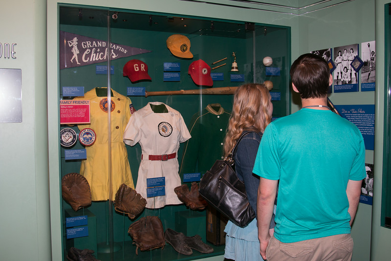 Uniforms and other items from AAGPBL (women's professional baseball league), 1950s -- A trip to the Baseball Hall of Fame, Cooperstown, NY, June 2014