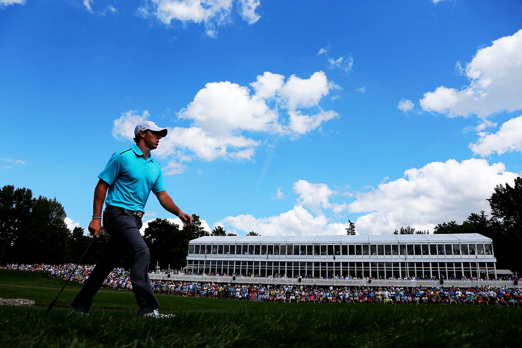 . Rory McIlroy of Northern Ireland walks on the sixth hole during the final round of the 95th PGA Championship on August 11, 2013 in Rochester, New York.  (Photo by Rob Carr/Getty Images)