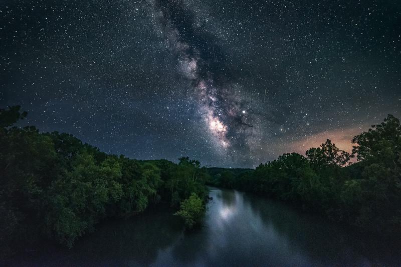 The Meramec River under the Milky Way