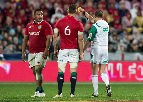 Mako Vunipola gets yellow card  Jérôme Garcès (France) during game 9 of the British and Irish Lions 2017 Tour of New Zealand, the second Test match between  The All Blacks and British and Irish Lions, Westpac Stadium, Wellington, Saturday 1st July 2017 (Photo by Kevin Booth Steve Haag Sports)  Images for social media must have consent from Steve Haag
