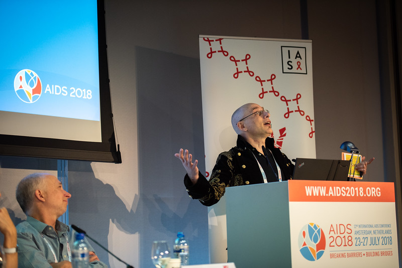 22nd International AIDS Conference (AIDS 2018) Amsterdam, Netherlands.   Copyright: Steve Forrest/Workers' Photos/ IAS  Photo shows: HIV Cure, Research with the Community Workshop. Michael Louella from defeatHIV, United States, speaking.
