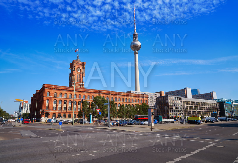 Berlin Spandauer street with Rotes Rathaus