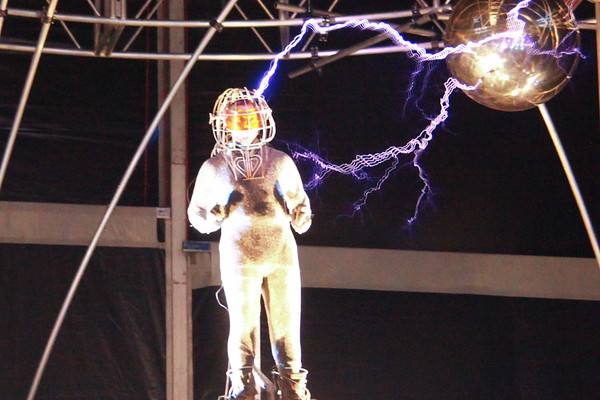 David Blaine - Electrified stunt at Pier 54 in New York City -  October 6, 2012