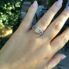 2.18ct Radiant Cut Diamond and Pink sapphire 3-Stone Ring by DBL GIA W-X, VS2 15