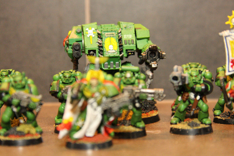 Captain, Sergeant, Tactical Marines and Dreadnought backup.