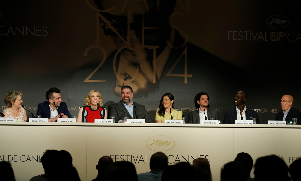 . From left, producer Bonnie Arnold, actor Jay Baruchel, actress Cate Blanchett, director Dean Deblois, actress America Ferrera, actor Kit Harington, actor Dijmon Hounsou and head of Dreamworks Jeffrey Katzenberg during a press conference for How to Train Your Dragon 2 at the 67th international film festival, Cannes, southern France, Friday, May 16, 2014. (AP Photo/Alastair Grant)