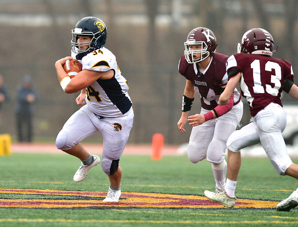 12/14/2019 Mike Orazzi | Staff Weston's Tyler Bower (34) during the Class M State final at Veteran's Stadium in New Britain on Saturday.