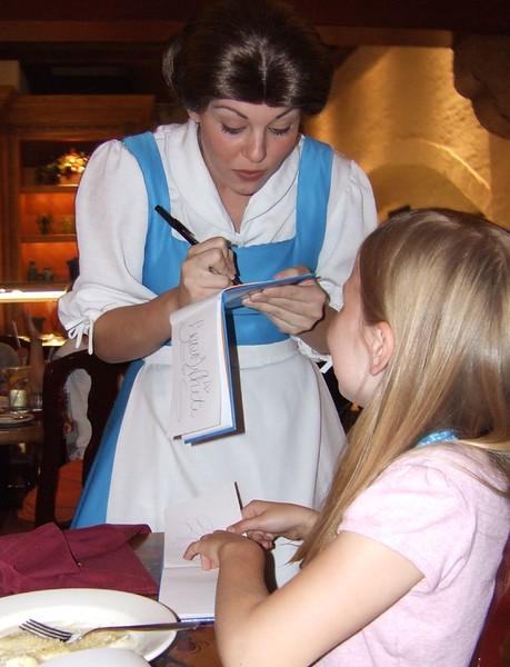 Belle at dinner