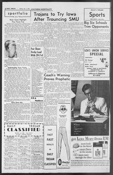 Daily Trojan, Vol. 54, No. 6, October 01, 1962