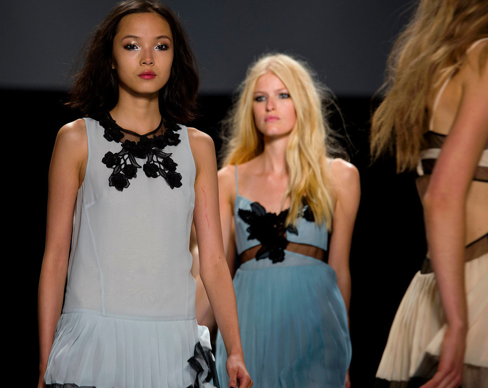 . The Jill Stuart Spring 2014 collection is modeled during Fashion Week in New York, Saturday, Sept. 7, 2013. (AP Photo/Craig Ruttle)