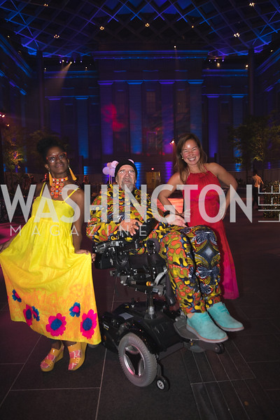 "Holly Bass, Chuck Close,  Phillippa Hughes. Photo by Bruce Allen. National Portrait Gallery ""Face Forward"" Artist Party."