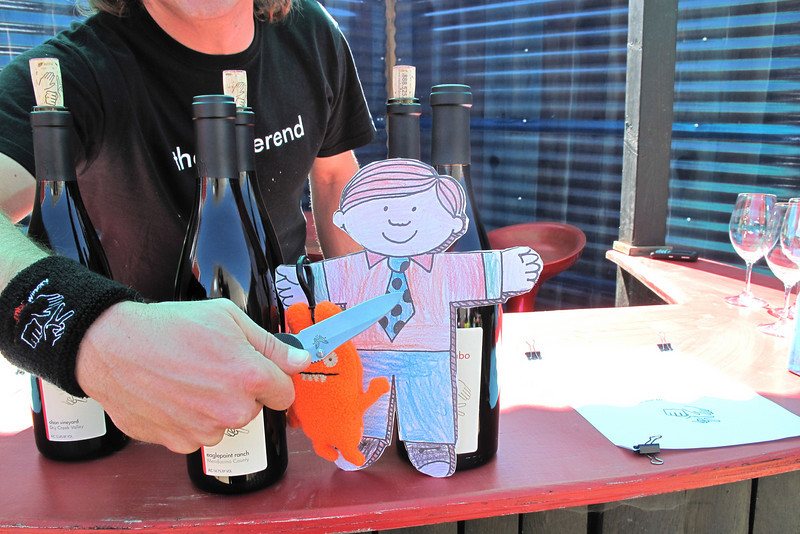 Flat Stanley does not have proper ID at the Roshambo Winery party.