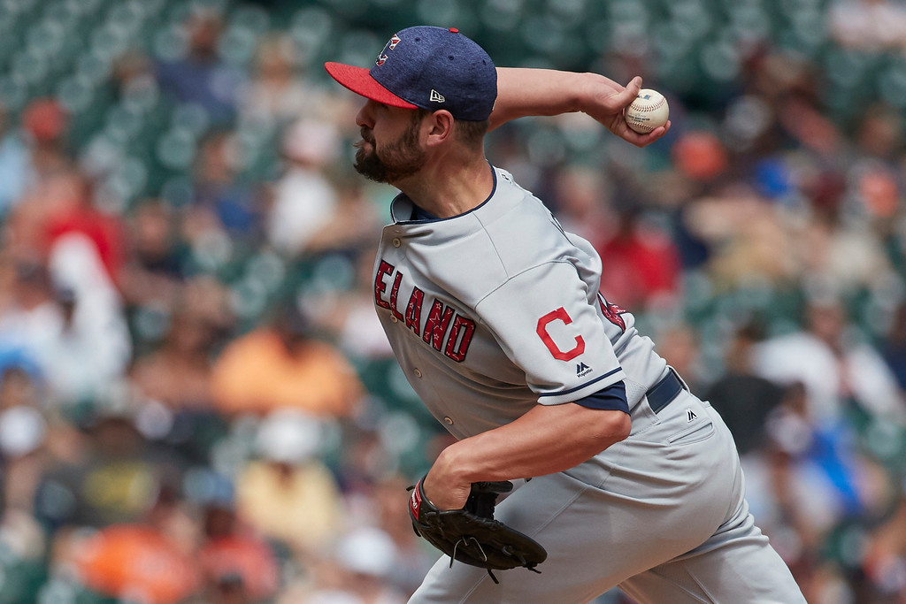 . Cleveland Indians relief pitcher Nick Goody throws in the seventh inning of a baseball game against the Detroit Tigers in Detroit, Sunday, July 2, 2017. (AP Photo/Rick Osentoski)